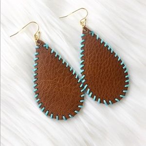 Jewelry - Brown And Turquoise Stitched Leather Earrings